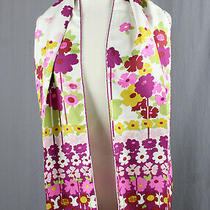 Burberry London Fuchsia Pink White Multi Color Floral Print Rectangle Scarf Photo