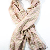 Burberry London Light Pink Lime Green Cashmere Plaid Fringe Trim Scarf Photo