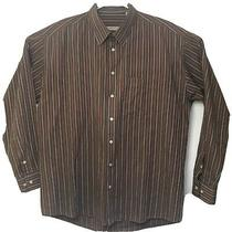 Burberry London Long Sleeve Shirt Brown Striped Made in Usa Mens Size Xl Photo