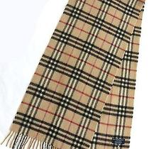 Burberry London Made in England 100% Cashmere Plaid Scarf 56