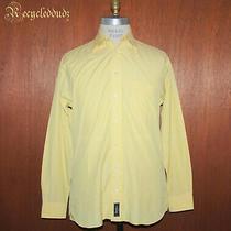 Burberry London Men's Shirt Sz 15.5 L Large Yellow Blue Stripe Y1 Photo
