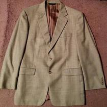 Burberry London Men's Sz 42 R 100% Wool 2-Button Tan Plaid Sport Coat Photo