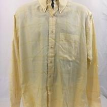 Burberry London Mens L Yellow Windowpane Button Down Shirt Button Down Collar Photo