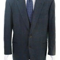 Burberry London Mens Long Sleeve Two Button Plaid Blazer Blue Wool Size 46r Photo