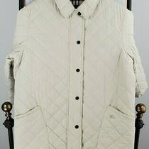 Burberry London Mens Size 44 Large Ivory Diamond Quilt Nova Check Zip Jacket  Photo