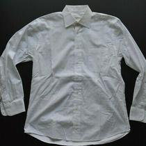 Burberry London Mens Solid White Cotton Designer Ls Dress Shirt Size 15.5 Photo