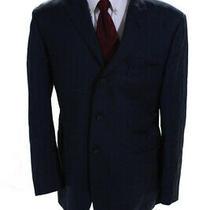 Burberry London Mens Three Button Blazer Checkered Navy Blue Size 44 Ll19ll Photo