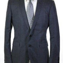 Burberry London Mens Two Button Notched Lapel Striped Blazer Gray Cotton Size 40 Photo