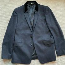 Burberry London Mens Wool Blazer Suit Jacket Black 54r Elegant Felt Collar Photo