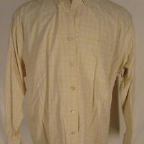 Burberry London Mens Yellow Plaid Long Sleeve Cotton Shirt Xl Photo