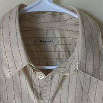 Burberry London Name Tan Brown Short Sleeve Button Front Shirt M Photo