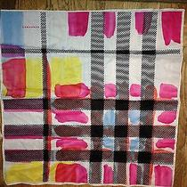 Burberry London New Cotton Abstract Pink Black Paint Splotch Scarf  Photo
