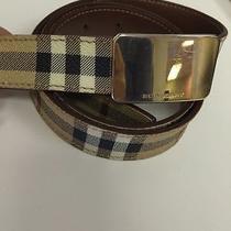 Burberry London Nova Check Classic Coated Leather Belt 32 / 80 B1810 Guc Photo