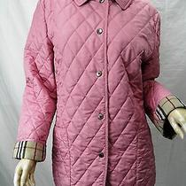 Burberry London Pink Quilted Snap-Front Barn Jacket Sz M Photo
