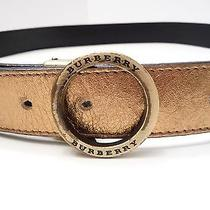 Burberry London Reversible Gold Black Belt W/ Antiqued Brass Buckle Italy Medium Photo