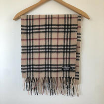 Burberry London Scarf Fringed 100% Cashmere Nova Check Unisex Made in England Photo