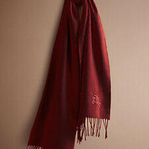 Burberry London Solid Burgundy Cashmere Scarf Photo