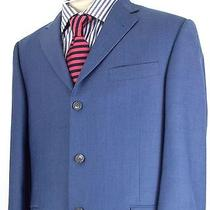 Burberry London Super 110s Blue 3 Button Sport Coat Suit Blazer Jacket 43r 1400 Photo