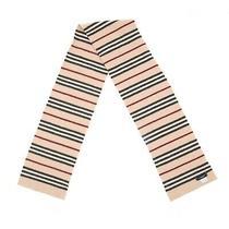 Burberry London Unisex Wool Striped Scarf Beige Scotland Rare 158 Cm 62