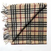 Burberry London Womens Cashmere Plaid Winter Scarf Beige Photo