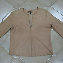 Burberry London Womens Suede Leather Nude Tan Top Shirt Blouse Size 8 Photo