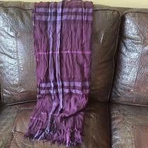 Burberry London Wool Scarf Nwot Burgundy Plaid Photo
