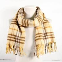 Burberry London Yellow Brown Cashmere Plaid Fringe Scarf 12' X 55