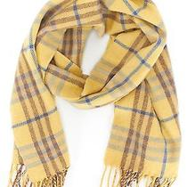 Burberry London Yellow Plaids Cashmere Fringe Long Scarf Photo