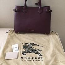 Burberry Medium Banner in Leather and House Check Mahogany Red 100% Authentic Photo