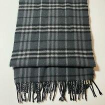 Burberry Men's 100% Cashmere Wool Gray Novacheck Plaid Scarf / Muffler Authentic Photo