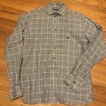 Burberry Mens Shirt Size S Long Sleeve Button Down Black/white Plaid Linen Photo