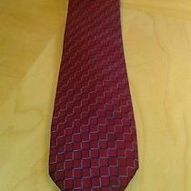 Burberry Necktie 100% Silk Gently Worn Burgundy and Blue Photo