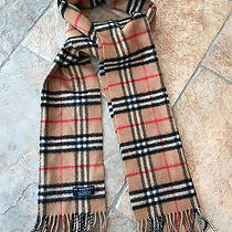 Burberry Nova Check Beige Lambswool Long Fringe Scarf Photo