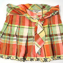 Burberry Nova Check Green Pink Yelllow Cream Tie Pleated Skirt Girls 4 Photo