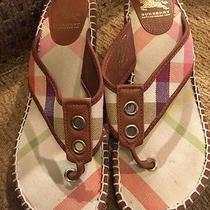 Burberry Nova Check Leather Thong Wedge Espadrilles Sandals Shoes Sz41 Photo