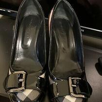 Burberry Nova Check Platinum Black Patent Leather Classic Heels Sz 38.5 Photo