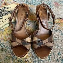 Burberry Nova Check Tie Up Rope Espadrilles Wedge Sandals Size 38 Us 8 Photo