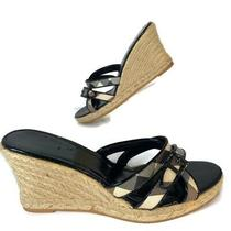 Burberry Nova Check Wedge Platform Heels Espadrille Shoes Women It 40 Us 10  Photo