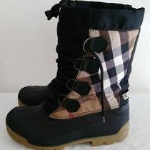 Burberry Novacheck Shearling Lined Black Rubber Lace-Up Snow Boots Size 6.5/7.5 Photo