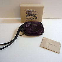 Burberry Nwt & Box Blackberry Brindley Leather Wristlet Coin Case  Key Ring 375 Photo