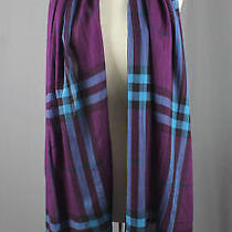 Burberry Nwt Violet Blue Check Print Fringed Trim Rectangle Scarf Photo