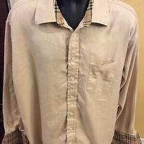 Burberry of London Brown Tan French Cuff Button-Up Shirt Mens Size 18.5 L Photo