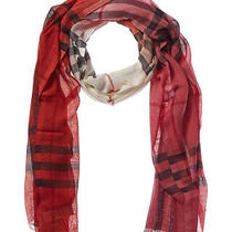 Burberry Ombre Check Wool & Silk-Blend Scarf Women's Red Photo