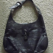 Burberry Prorsum Black Leather Hobo Handbag W/buckle & Dust Bag. Perfect Photo
