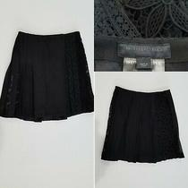 Burberry Prorsum Black Pleated Lace Crocheted Skirt Size 42 It Photo