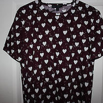 Burberry Prorsum Heart Print T-Shirt (Burgundy) Photo