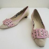 Burberry Pumps Beige Canvas With Pink Leather Buckle  Us 6.5  Euro 37 Photo