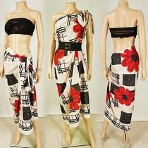 Burberry Red Black Cotton Nova Check Floral Print Oversized Scarf/wrap/sarong Photo
