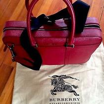 Burberry Red Leather Laptop Bag Photo