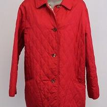 Burberry Red Quilted Long Sleeve Novacheck Lined Barn Jacket Coat Medium Photo